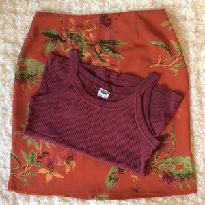 vintage 90's floral print mini skirt and tank set
